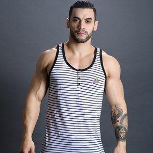 Andrew Christian Banana Henley Striped Tank Top S